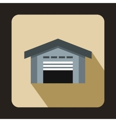 Warehouse with open door icon flat style vector