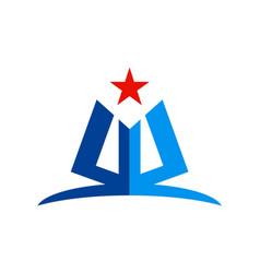 Abstract shape star education logo vector