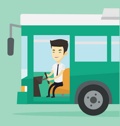 asian bus driver sitting at steering wheel vector image