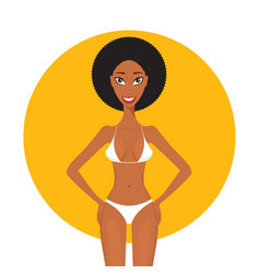 beautiful african american black woman in swimsuit vector image vector image