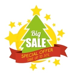 big sale special offer merry christmas tree banner vector image vector image