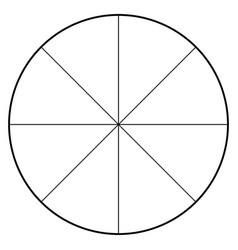 Blank polar graph paper - protractor - pie chart vector