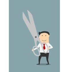 Businessman with a large pair of sharp scissors vector image vector image