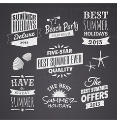 Chalkboard style typographic summer designs vector