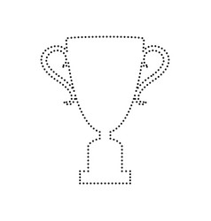 Champions cup sign black dotted icon on vector