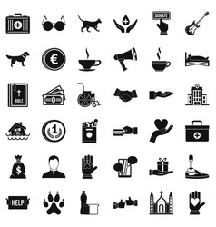 Charity work icons set simple style vector