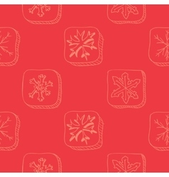 Christmas pattern with snowflake sketch vector image vector image