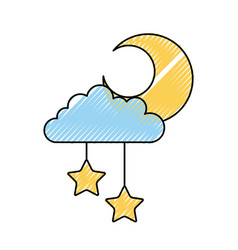 cloud sky with mon and stars vector image