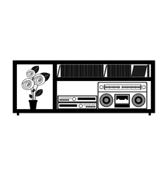 contour monochrome with entertainment sound center vector image vector image