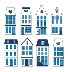 Cute Amsterdam houses colorful set vector image vector image