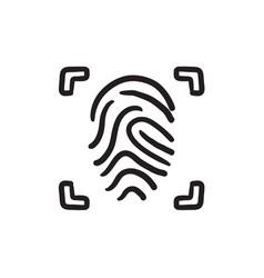 Fingerprint scanning sketch icon vector