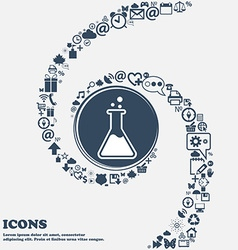 Flask icon in the center around the many beautiful vector