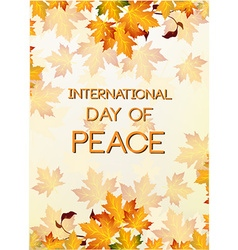International day of peace with leaves vector