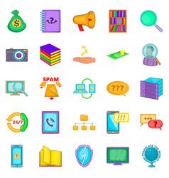 large storage icons set cartoon style vector image