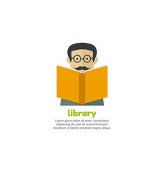 man reading a book library logo vector image