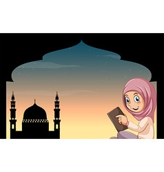 Muslim girl with mosque background vector