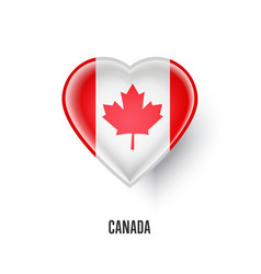 patriotic heart symbol with canada flag vector image vector image