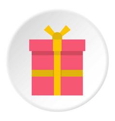 Pink gift box with a yellow ribbon icon circle vector
