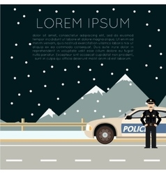 Police on the road banner vector image vector image
