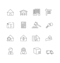 Real estate outline icons vector image