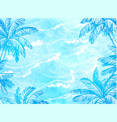 Sea waves and palm trees vector