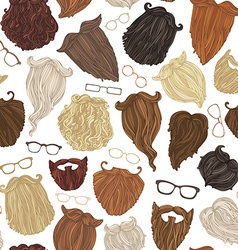 Seamless pattern of hipster beards and eyeglasses vector