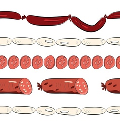 seamless wallpaper with sausages vector image vector image