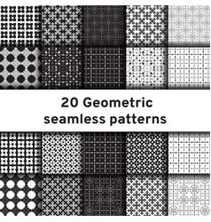 Set of 20 monochrome seamless patterns vector