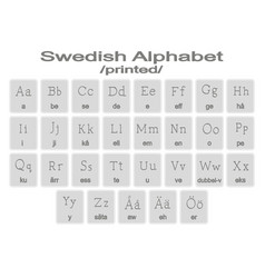 set of monochrome icons with swedish alphabet vector image vector image