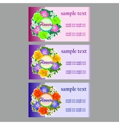 Three flower business cards name cards vector