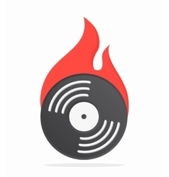 Vinyl with fire logo design vector image