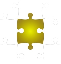 White puzzle pieces with one yellow missing vector