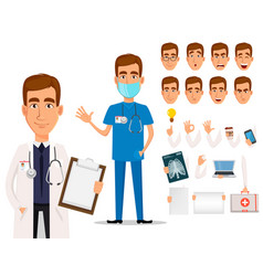 young professional doctor pack of body parts and vector image