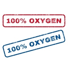 100 percent oxygen rubber stamps vector