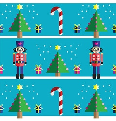 Geometric xmas pattern with nutcracker vector