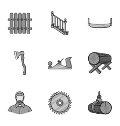 Sawmil and timber set icons in monochrome style vector