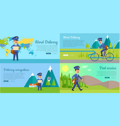 Post service cartoon web banners set vector