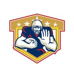 American football running back fending shield vector