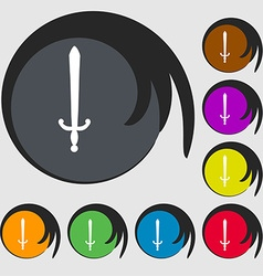 Sword icon sign symbol on eight colored buttons vector