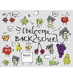 Back to school fruit doodle set background vector