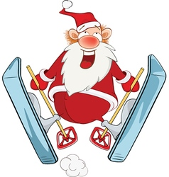 Cute santa claus ski jumping vector