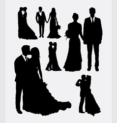 Wedding male and female in love silhouettes vector image