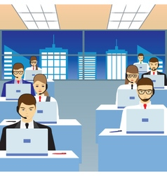 People working in a call center office vector