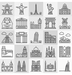 Travel landmarks icons vector