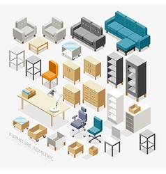 Furniture isometric icons vector