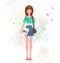 Fashion girl with magazines on sketch floral vector