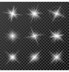 Set of glowing lights stars and sparkles isolated vector