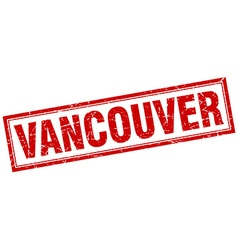 Vancouver red square grunge stamp on white vector