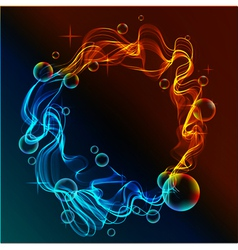 abstract fire and ice and bubbles vector image vector image