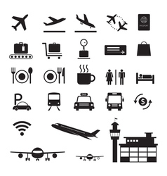 Airport Icons and Symbols Silhouette Set vector image vector image